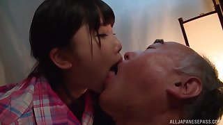 Japanese teen Miyazaki Aya seduces an older guy with the addition of rides him hard