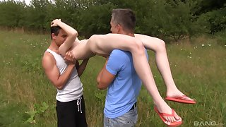 Skinny dabbler teen Mia Evans stripped and fucked overwrought two guys gone away from