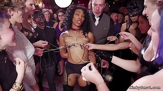 Ebony nipples tormented at bdsm party