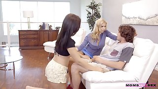 Seductive stepmom fucks her stepson and his young wife Karter Foxx