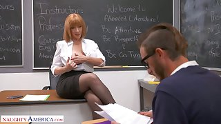 Perfectly shaped busty teacher Sara Clodpate seduces one of the students