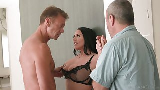 Horny Rocco fucks big titties seductress Angela White right on be passed on larder table