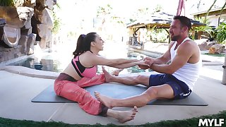 After yoga class Ariella Ferrera make laugh her friend's cock on the ground