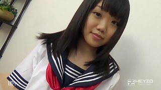 Asian honey, Natsuno Himawari is wearing her college unvaried while getting smashed and fellating prick