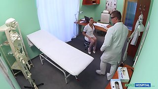 Horny nurse Mea Melone teases and rides a torrid doctor on rub-down the bed