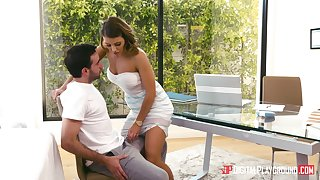 Rub-down therapist Adriana Chechik gives a BJ and takes a cock up her cunt