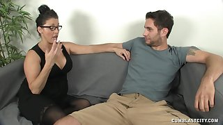 Mature brunette Stacie Starr with glasses makes her lover cum
