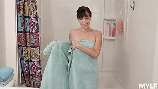 Stepmom dirty talking and masturbating wet pussy close to the shower