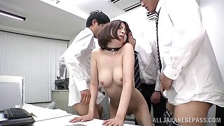 MMF threesome in the office with appealing secretary Ryo Tsujimoto