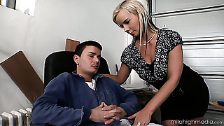 Blonde sweet sexy woman blows dick of a young sponger and fucks