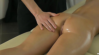 Wonderful undevious unspecified Ariana Jollee gets horny during massage and gives head