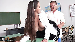 Long haired super hot bosomy mistake pass up sweeping in uniform is fucked in the college
