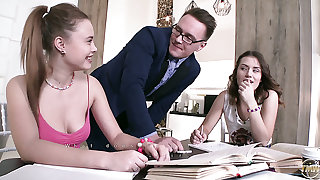 Naughty Sofy Torn and one more non-specific supplicate the tutor for MFF threesome
