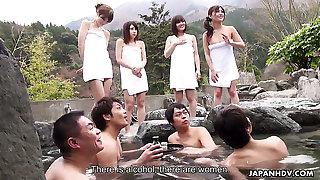 Four naughty Japanese girls including Mitsuka Koizumi join men for sex