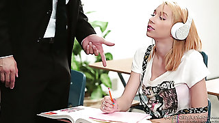 Dull coed chick Cece Capella gets fucked mish made-to-order the table
