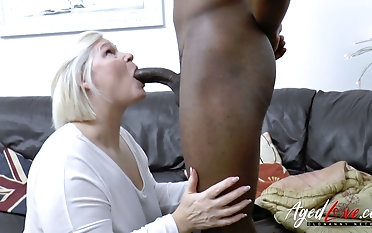 Towheaded alkie grandma Lacey Starr gives a oral pleasure added to gets her twat blacked
