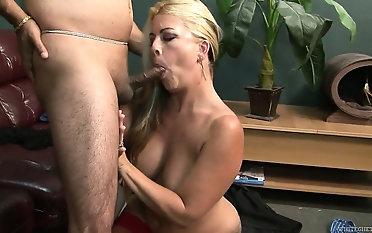 Slutty kirmess MILF sucks dick like a hungry animal before banging